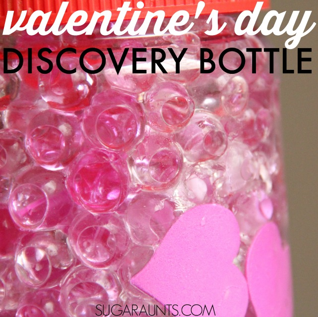 Valentines day sensory bottle for self regulation and sensory processing or visual processing