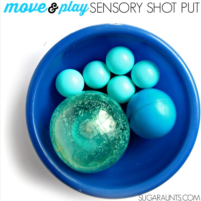 Vestibular sensory play activity for indoor play. This shot put game is a great way to incorporate the vestibular system into play.