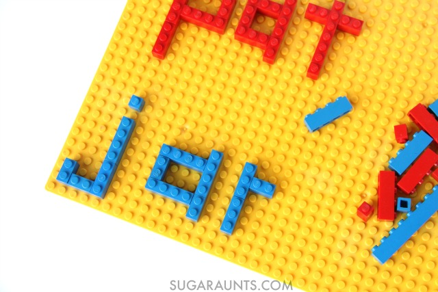 Use LEGOS to build words! This is perfect for Kindergarten and early readers who are learning to build words by sounding out and blending letters, and has great fine motor benefits, too.