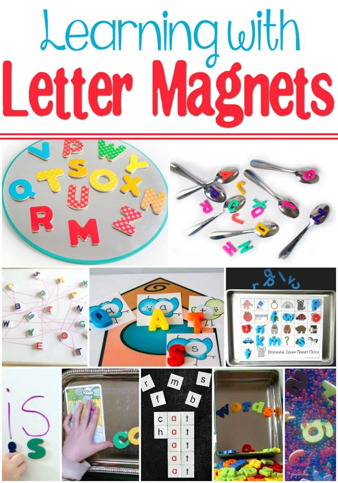 Use magnetic letters to work on learning with kids.