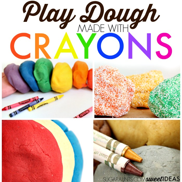 All the best crayon play dough recipe ideas for using crayons to make play dough