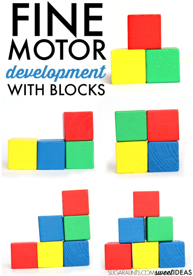 Development of fine motor skills using wooden blocks