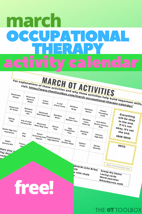 march occupational therapy activity calendar to build skills in kids