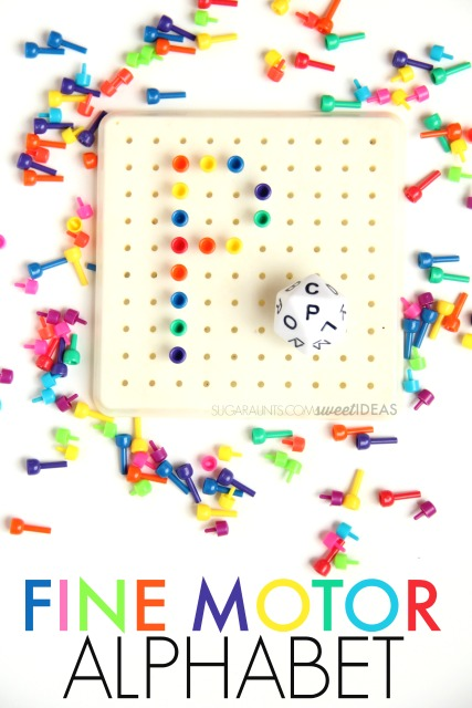 his fine motor peg board activity incorporates eye-hand coordination and tripod grasp to manipulate pegs in order to build letter formation skills, and using a dice, which adds a power in-hand manipulation component to the activity...with a bit of fun mixed in.