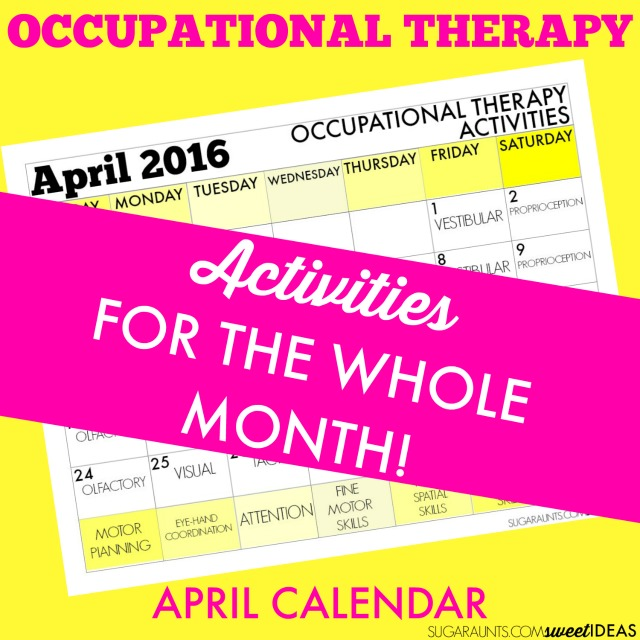 April Occupational Therapy calendar of activities