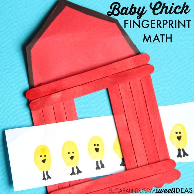 Farm themed math addition activity with baby chick fingerprint art