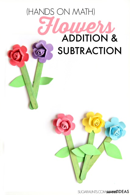 Use these flower crafts to practice hands on math with kindergarten kids to introduce addition and subtraction with composing and decomposing numbers with a fun Spring Flower Math theme.