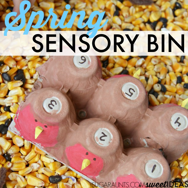 This is a fun and easy Spring sensory bin for kids