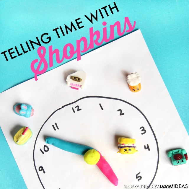 Teaching kids how to tell time and AM PM differentiation with Shopkins and a hands on learning activity for math.