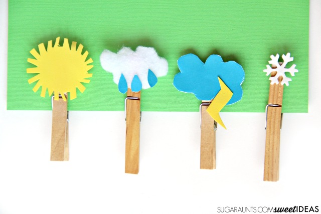 Fine motor weather craft with clothes pins. These are great for a creative writing journal prompt based on weather and a warm up exercise before handwriting.