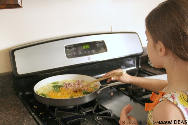 Kids love this omelet recipe and it's so easy to make. Add healthy ingredients for an easy cooking with kids favorite breakfast idea.