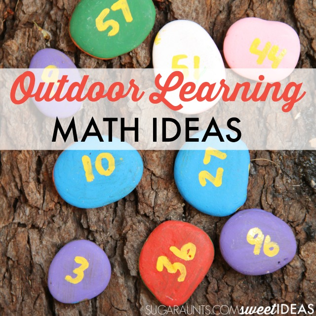 Outdoor learning math ideas and creative movement activity using rocks for second grade math addition and subtraction ideas.