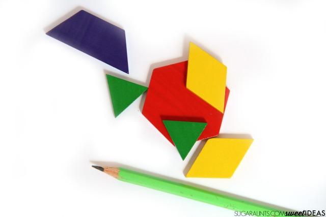 Work on handwriting skills using tangrams to address the visual perception skills needed for written work.