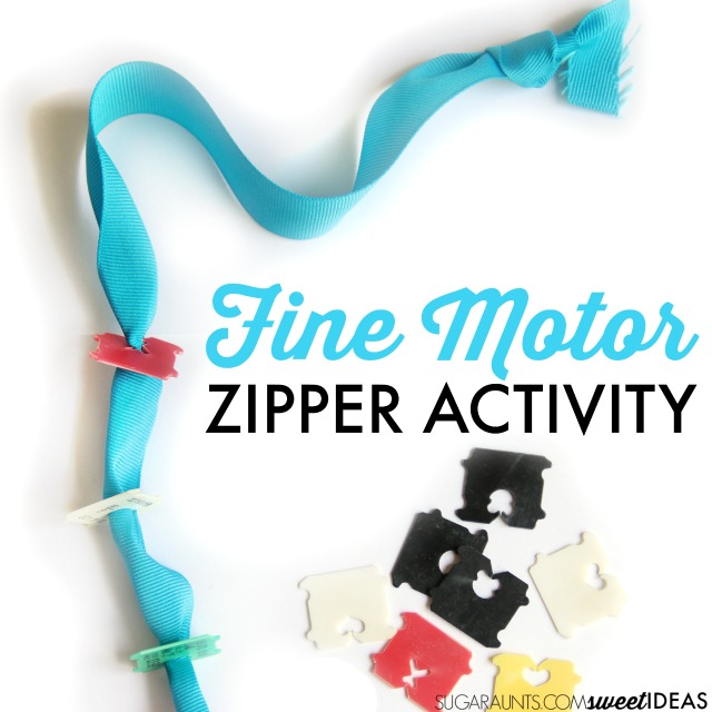 Help kids learn how to zipper clothing using recycled materials that you probably have in your house. This activity works on all of the individual skills needed for the motor planning of zippering a zipper and uses just a ribbon and plastic bread ties.