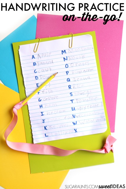 sneaky handwriting ideas for kids who need to practice writing but just don't want to. This A-Z list can be taken anywhere for writing practice on the go!