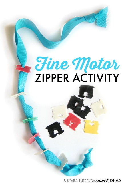 Zippering activity that works to teach a child to zip a coat using fun materials like a ribbon and bread ties.
