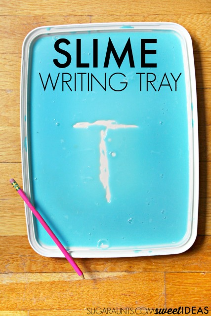 Letter formation slime writing tray