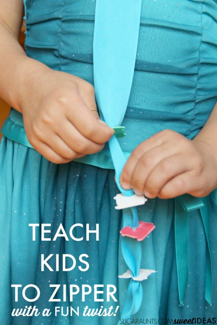 Use this zippering activity for a fun way to teach a child to zip a coat