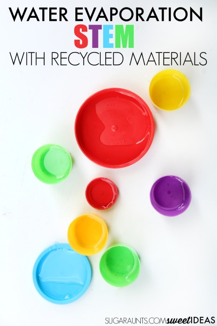 Use bottle caps and recycled materials in an evaporation experiment for kids.