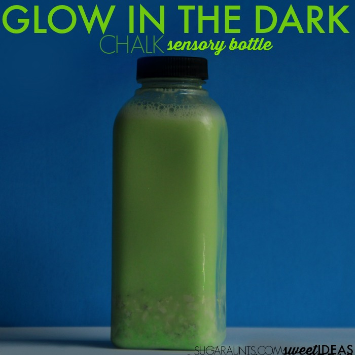 Glow in the dark chalk sensory bottle: how to make a sensory bottle and why sensory bottles are great for self-regulation needs.