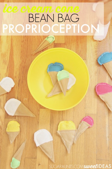 Easy ice cream cone bean bag idea for proprioception and sensory play for kids.