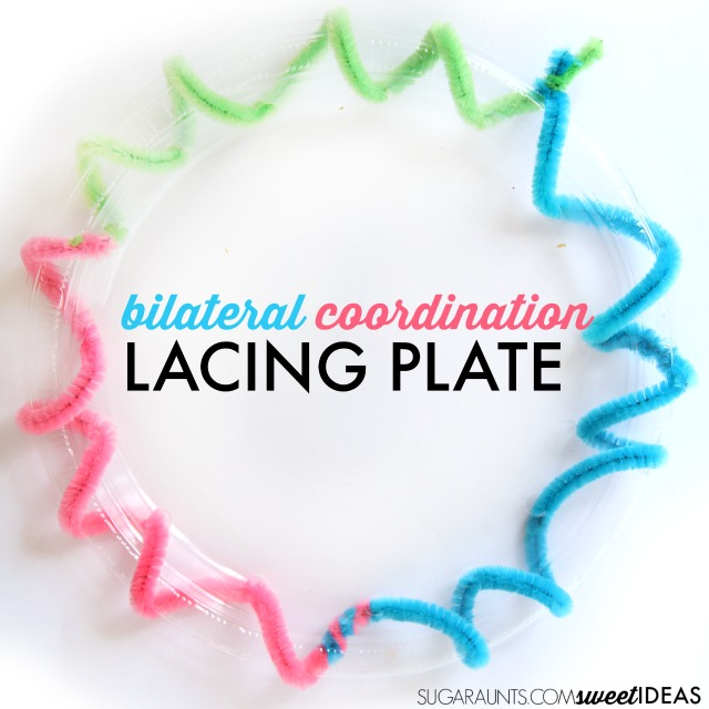 Bilateral coordination activity with lacing a plastic plate to build midline crossing, coordination of the two sides of the body, and hand dominance for improved functional skill motor use.