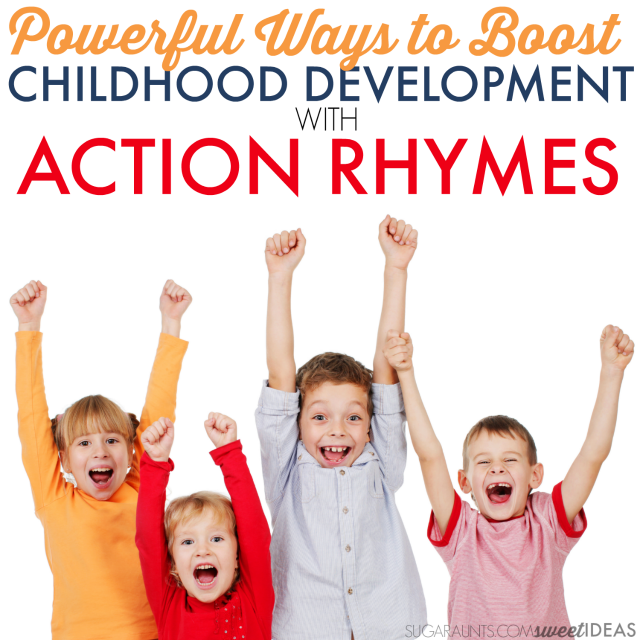 Use these creative and powerful ideas to boost and build childhood development with action rhymes and finger plays with toddler and preschool kids in the classroom, home, or Occupational Therapy clinic.