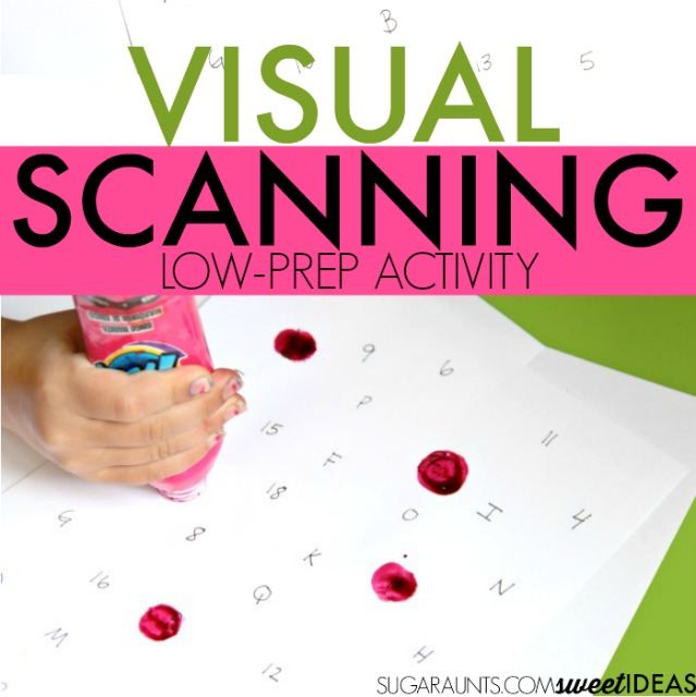 visual scanning activity to identify letters