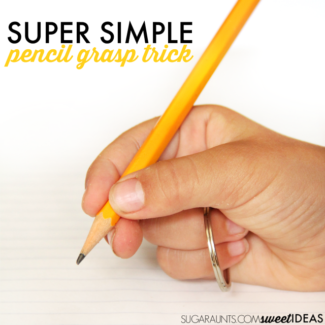 Super simple pencil grasp trick using a keychain keyring loop that works to separate the two sides of the hand and encourage a tripod grasp while writing.