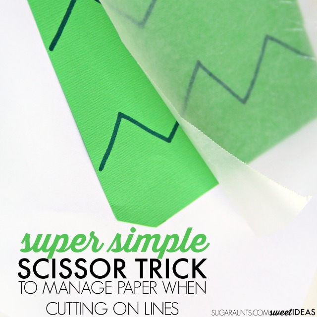 Teach Kids to Cut with Scissors using this easy trick that helps kids learn to use their non-dominant hand to turn and hold the paper during scissor skills.