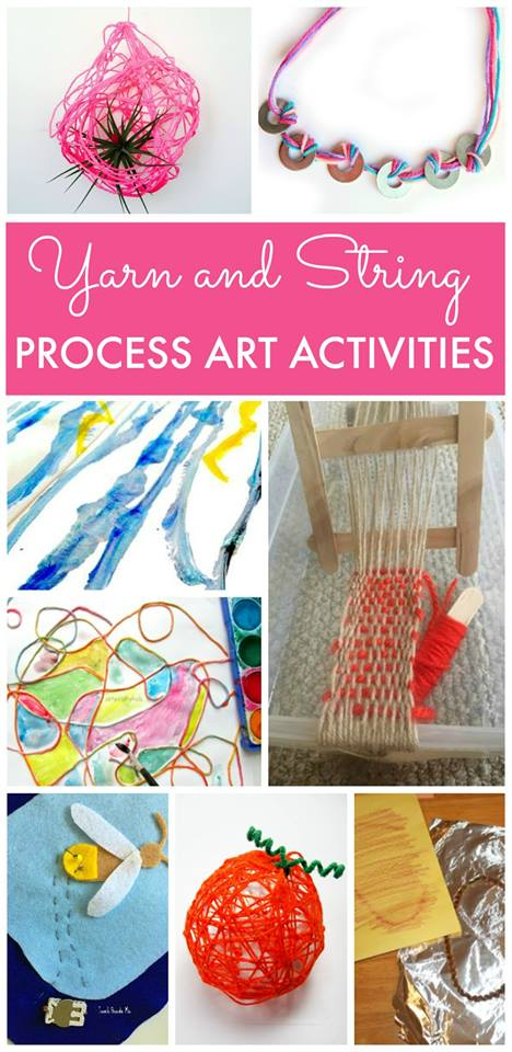 Yarn and string process art activities for fun kids crafts