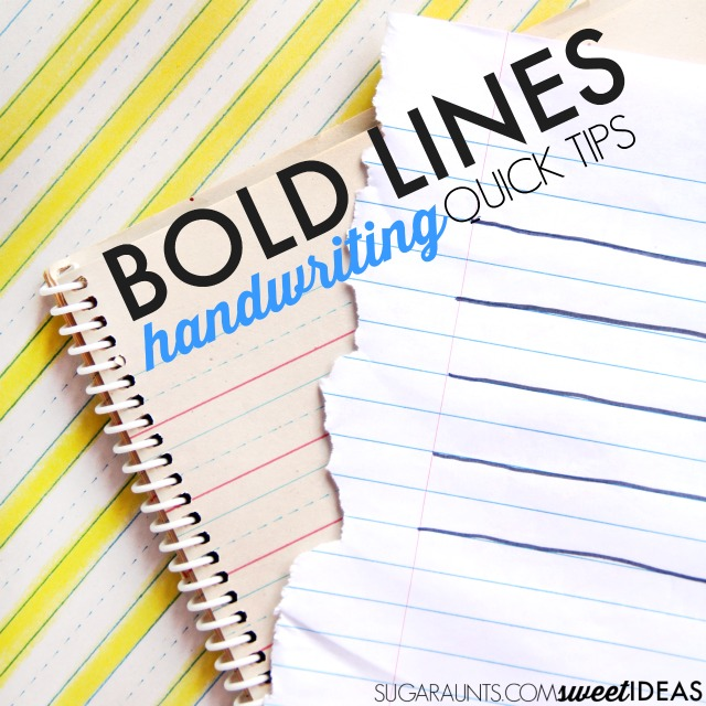 Use bold lines to help kids write neater and improve handwriting.