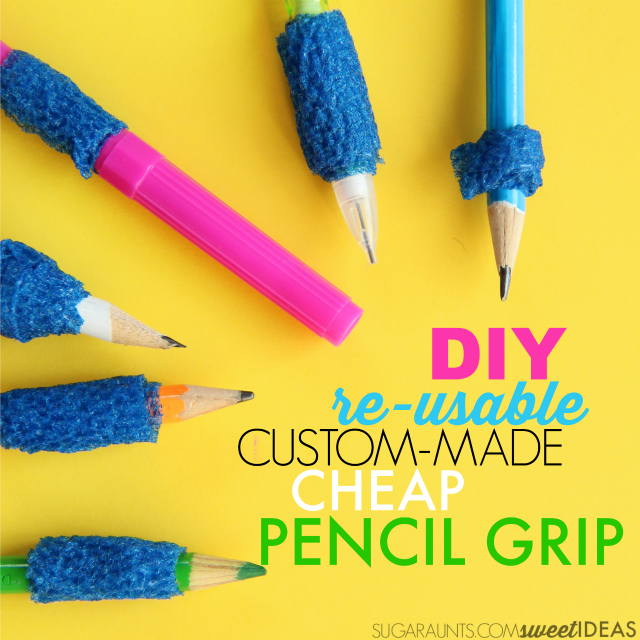Use coban to make a customized, re-usable, DIY pencil grip for improving pencil grasp, perfect for the whole classroom or OT clinic.