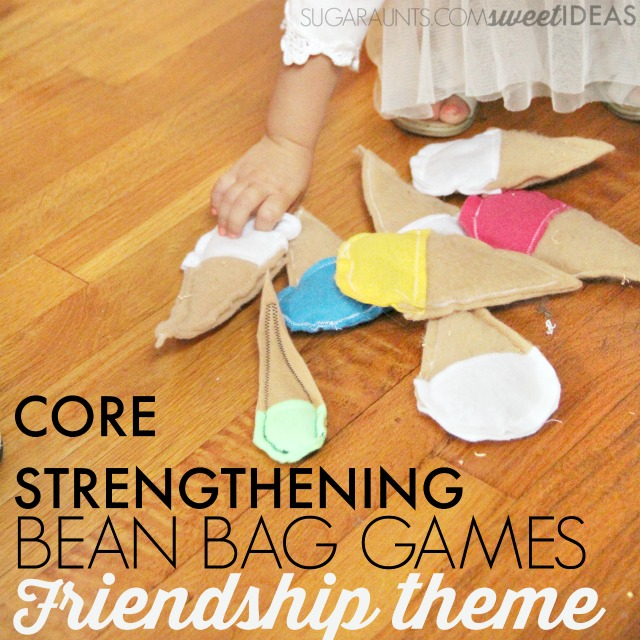 Friendship themed bean bag activity for gross motor core strengthening exercise