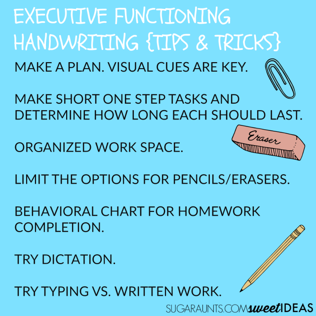 Tips and tricks for helping kids with executive functioning problems with handwriting
