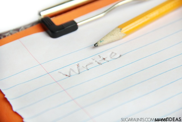 Easy trick for helping kids to write with appropriate pencil pressure and letter formation.