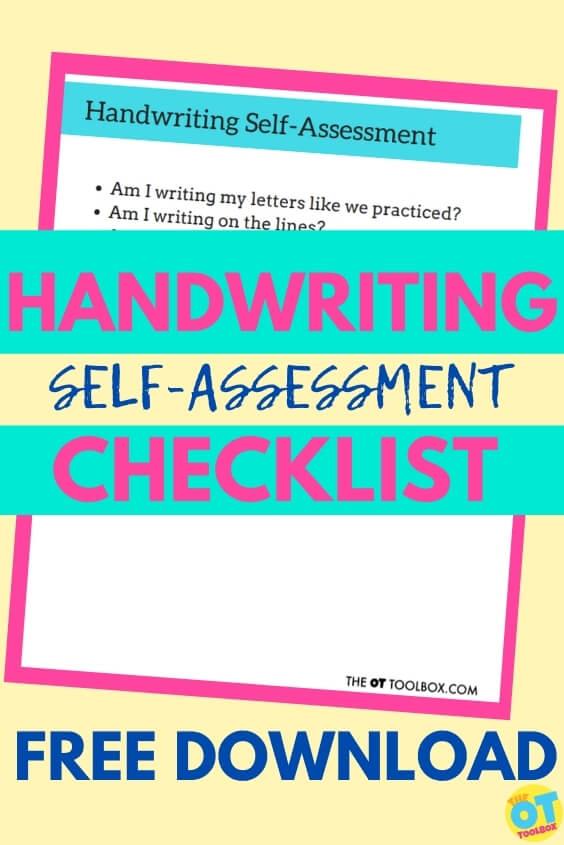 handwriting self assessment checklist