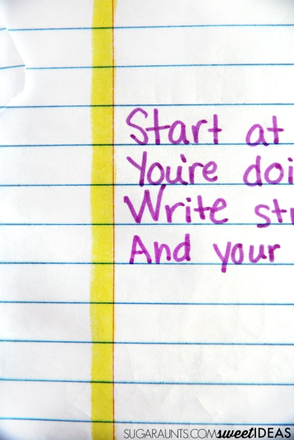 Use a highlighted line to mark the margin in handwriting tasks, to help kids with spatial awareness.