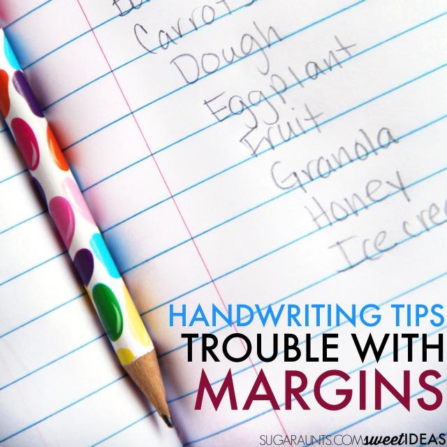 Handwriting sample with poor margins and spatial awareness in writing task.