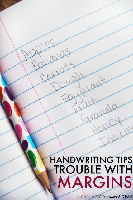 Kids can use handwriting accommodations for poor spatial awareness and margins in handwriting.