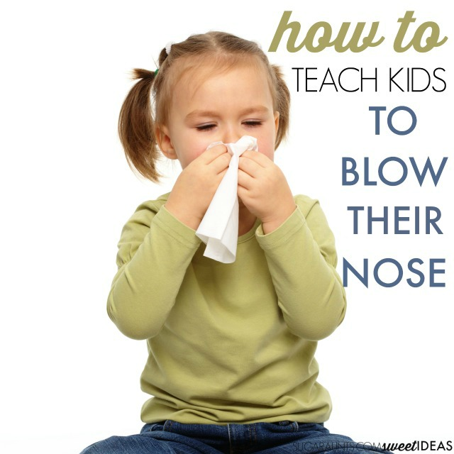 Tips from an Occupational Therapist to teach kids how to blow their nose.