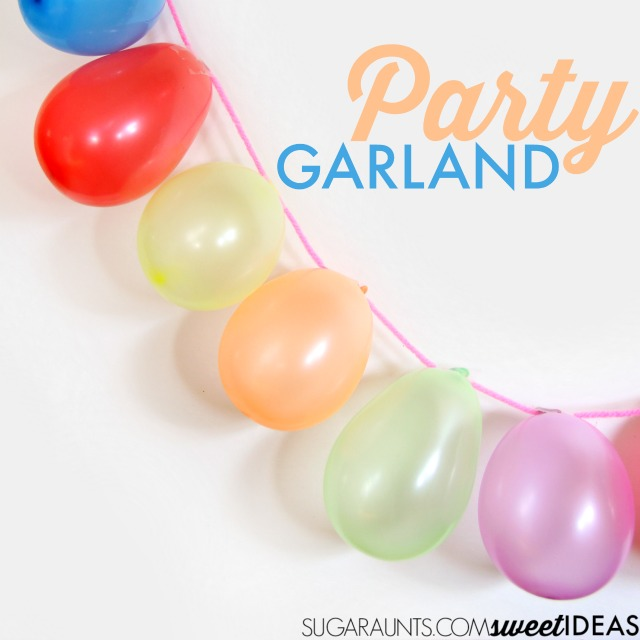 Balloon garland for parties- This would be perfect for kids' birthday parties as a photo backdrop, tablescape feature, or strung across the room.