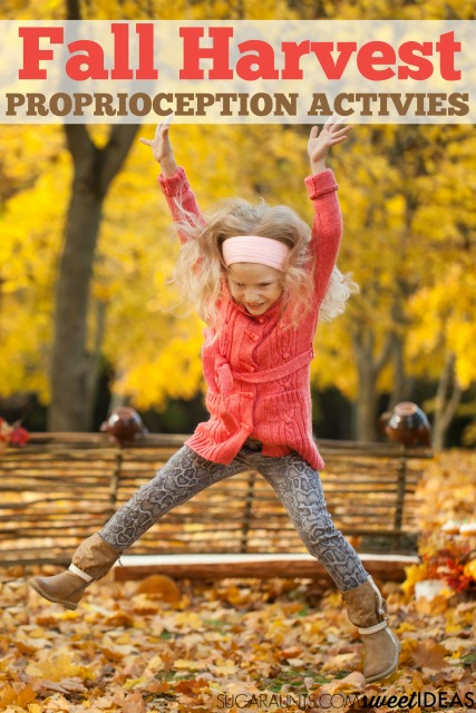 Fall themed proprioception activities that are perfect for adding sensory input with a harvest them this Fall.