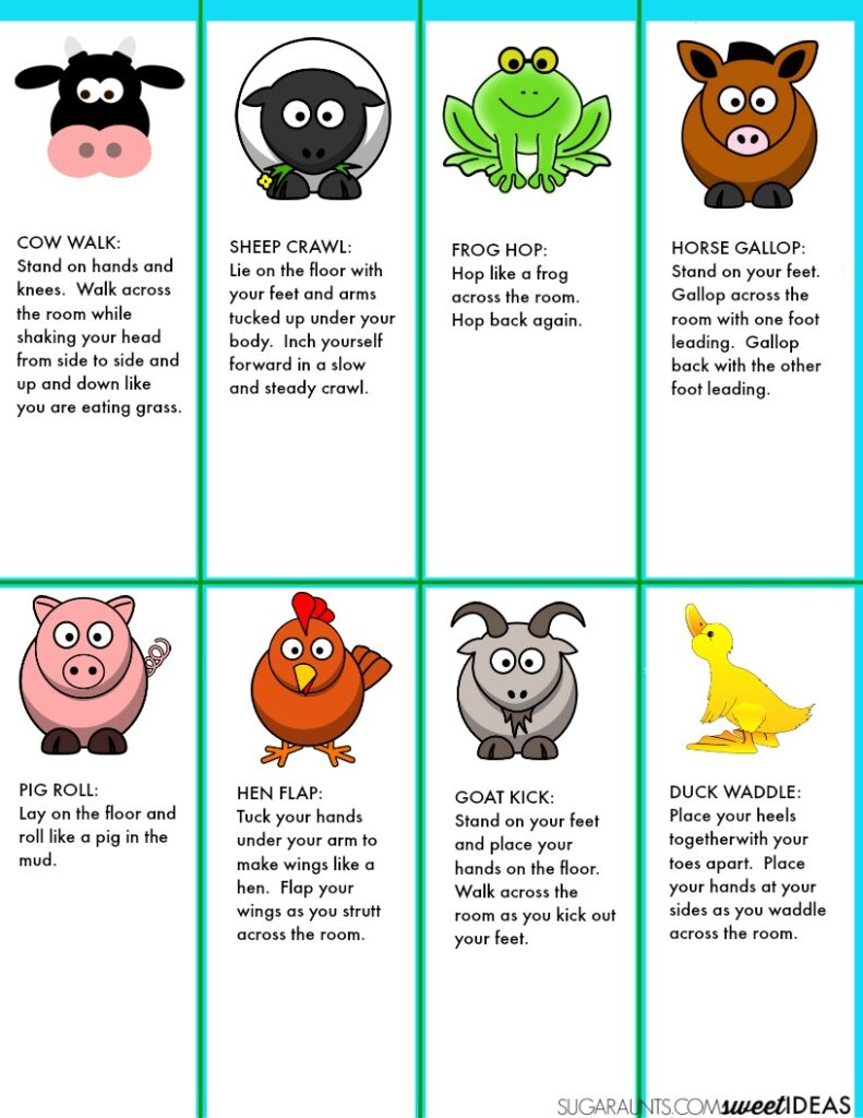 image about Break Cards for Students Printable referred to as Farm Mind Breaks for the Clroom - The OT Toolbox