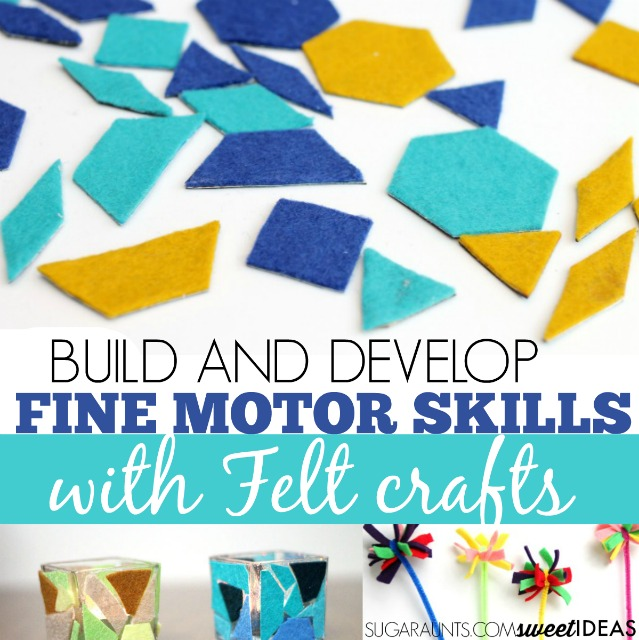 Use felt scraps to create felt crafts while building fine motor skills and other therapy skills like eye-hand coordination, strength, problem solving, range of motion, and more.