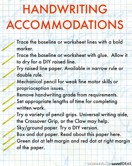 Handwriting accommodations ideas for the classroom and written work