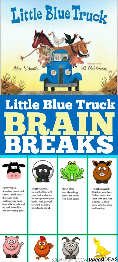 Little Blue Truck and farm themed brain breaks for attention, focus and sensory needs in the classroom based on farm animals.