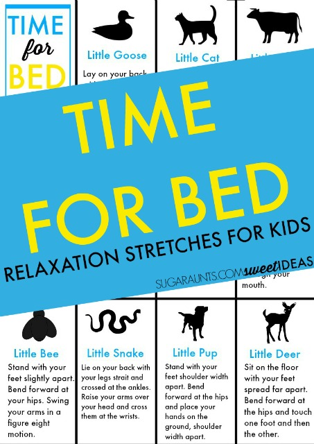 Bedtime relaxation stretches for kids can help with making bedtime easier.