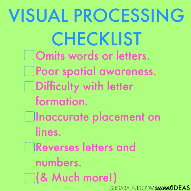 Visual processing checklist
