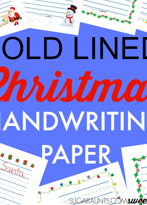 Bold lined paper for Christmas and holiday handwriting activities